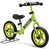 Enkeeo 12' Enfant-Vélo Draisienne Sans Pédalier Pour 2~6 Ans Enfants, Cadre en Acier au Carbone, Guidon et Siège Réglables, Capacité de 50 kg (Vert)