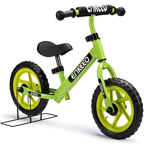 """Enkeeo - 12"""" Bicicleta sin Pedales, Bicicleta Infantil de Equilibrio (Para 2~6 Años Niños, Marco de Acero Carbón, Manillar y Asiento Ajustables, Capacidad 50kg, Alta Resistencia) (Verde)"""