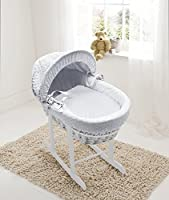 White Dimple White Wicker Moses Basket & Deluxe White Rocking Stand