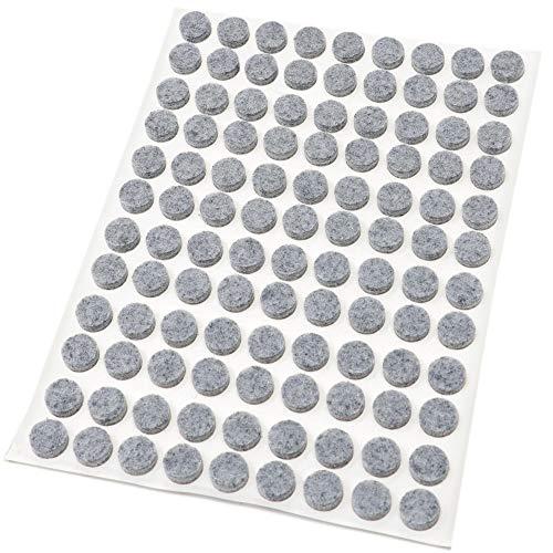 Preisvergleich Produktbild Adsamm® / 108 x Filzgleiter / Ø 10 mm / Grau / rund / 3.5 mm starke selbstklebende Filz-Möbelgleiter in Top-Qualität