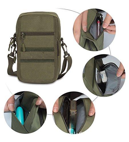 Moda uomo outdoor multifunzione mini Tactical messenger bag bicicletta nero Black ArmyGreen