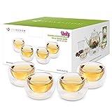 Teabloom 4 doppelwandige Glasbecher 100 ml - Hitzebeständige Tee- und Espressotassen aus Borosilikatglas