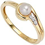 Ring Damenring Perlenring Süßwasser Perle Zirkonia 333 Gold Gelbgold, Ringgröße:Innenumfang 56mm ~ Ø17.75-18mm