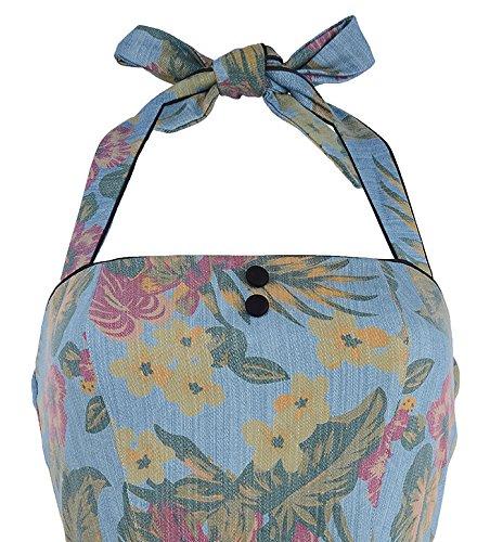 Küstenluder KADRA Tiki Floral 50s Frangipani Neckholder Top - Blau Rockabilly Blau mit buntem Blütenprint