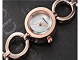ADream Womens Metall Kettenarmband Uhr Strass Edelstahl Uhr Enthält eine Knopfbatterie