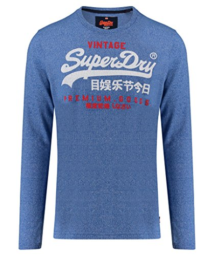 Superdry Herren Longsleeve Premium Goods Duo LS Worn Red Blau