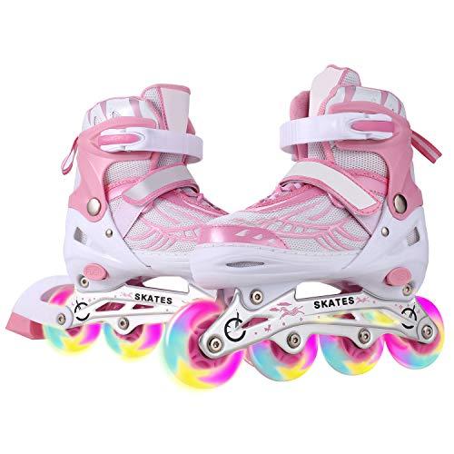 Inline Skates Kinder/Jungen/Mädchen Canvas Design Einstellbare Rollschuhe Kinder Mit Leucht PU Räder Dreifach Schutz Leichte Inline Skates (Rosa, S: 31-34 EU)