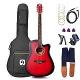 Gitarre Akustik, Elektroakustische Gitarre 41 Zoll Full Size Cutaway Anfänger-Akustikgitarre Stahl String Guitar Pack mit Gig Bag, Ersatzsaiten, Blau, von Vangoa