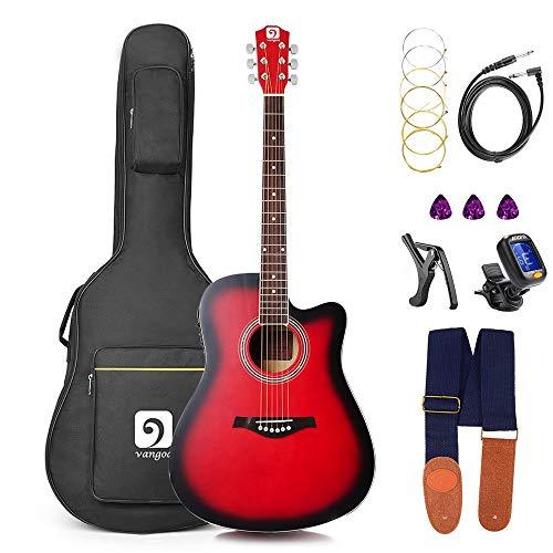 Vangoa Elektro Akustik Gitarre, 41 Zoll Elektroakustische Gitarre 4 Band EQ Volle Größe Akustikgitarre für Anfänger Cutaway Guitar Set mit Gig Bag, Ersatzsaiten, Rot