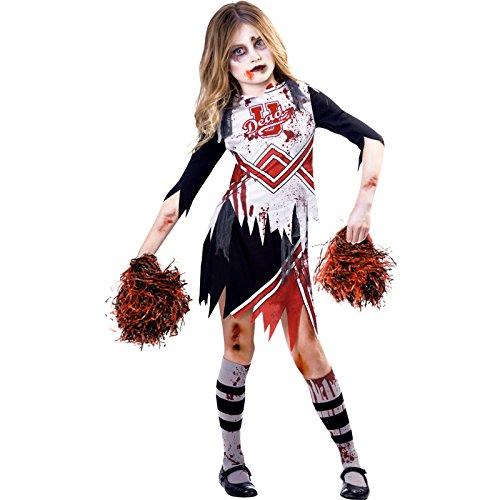 Zombie-Cheerleader Halloween Kostüm Kinder Mädchen (Zombie Kostüme Cheerleader Kinder)