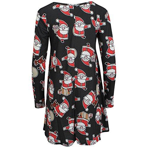 FK Styles Damen Kleid Schneemann Weihnachtsdruckschwingen Santa schwarz
