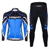 Maxmer Maillots Conjunto para Hombre Invierno Respirable Montar Bici Moto, Color Azul