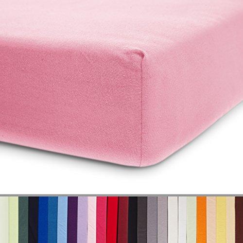 Lumaland Comfort Jersey Spannbettlaken 100 % Baumwolle mit Rundum-Gummizug 90 x 200 cm - 100 x 200 cm Rosa (Spannbetttuch Einem Auf)