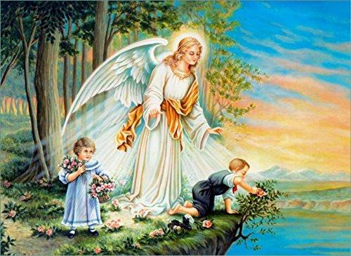 wowdecor Malen nach Zahlen Kits für Erwachsene Kinder, Anzahl Gemälde-Engel Mädchen Kinder Sunset Forest River Landschaft 40,6x 50,8cm Framed