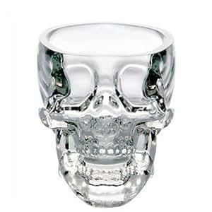 Petit Verre à Vodka Transparent de 74 mL en Forme de Crâne de Cristal 3D