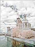 Posterlounge Leinwandbild 60 x 80 cm: Moskau - Infrarot-Landschaft von Editors Choice - fertiges Wandbild, Bild auf Keilrahmen, Fertigbild auf Echter Leinwand, Leinwanddruck