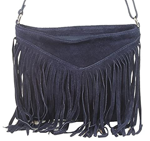 taschenTrend Burgio Medium-Format leather Handbag Shoulder Bag Suede Tassel Shoulder Bag Messenger Women's Velour Franse Square 18 x 16 x 5 CM (W x H x D) Blue Size: One
