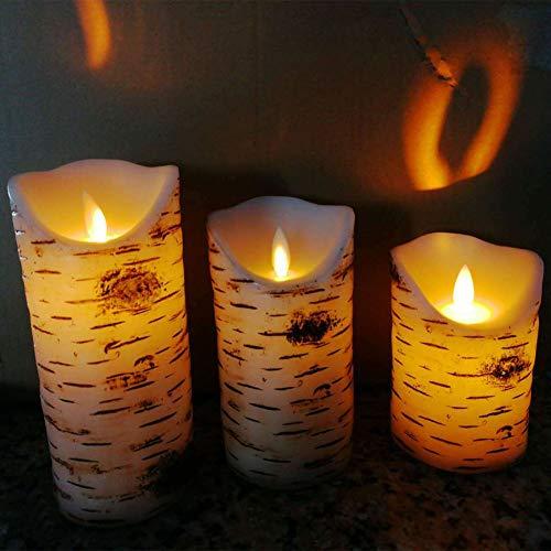 r, 3 Stück realistische Birke texturierte Rinde, batteriebetrieben, flackernd, flammenlose Kerzen, Fernbedienung, Timer, Teelicht Free Size Arm White ()
