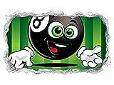 3D Wandtattoo Sport Billard Kugel Kinderzimmer Wand Aufkleber Durchbruch Stein selbstklebend Wandbild Wandsticker 11N689, Wandbild Größe F:ca. 140cmx82cm