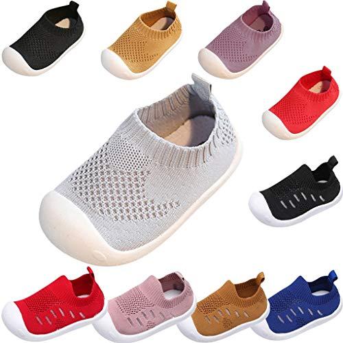 Sandalen für Kinder/Dorical Sommer Unisex Baby Jungen Mädchen Lauflernschuhe Fliegendes Weben Schuhe Mesh Atmungsaktiv Sportschuhe Freizeitschuhe Krabbelschuhe mit Weiche Sohle(Grau,3-3.5 Jahre)