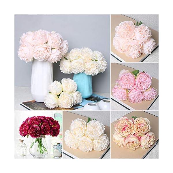 1 ramo de 5 cabezas de flores de seda de peonía artificial para novia, boda, hogar, jardín, decoración, blanco, talla…