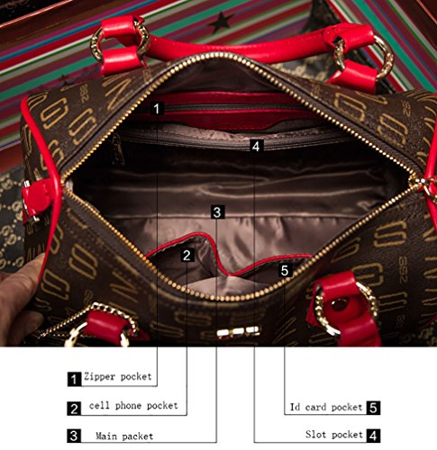 Oruil, Borsa a mano donna, Brown and Red (Marrone) - Tw01 Brown and Red