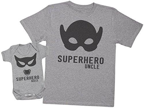 Zarlivia Clothing Superhero Niece - Ensemble Tontons Nièce Cadeaux - Hommes T Shirt & Barboteuse - Gris - X-Large & Newborn