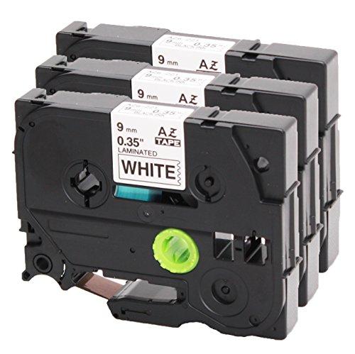 3x Nastro Tape Cassette per Brother TZe-221 9 millimetri bianco e nero 9 millimetri di larghezza x lunghezza 8m compatibile con TZ221