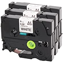 3x Schriftband für Brother TZe-221 9mm schwarz auf weiß 9mm breit x 8m Länge kompatibel zu TZ221 P-Touch 1000W 1830 2730 D200 7100 2100 2030 1830 7600 VP 2430 1230 9700 PC 1090 2470 1290 1010 1080 1830 E100 P700 H75S H105