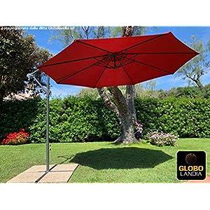 GLOBOLANDIA SRL 91915 - Ombrellone Banana Decentrato a Braccio Rosso 3 con Fodera Protettiva e Base in Metallo Incluse