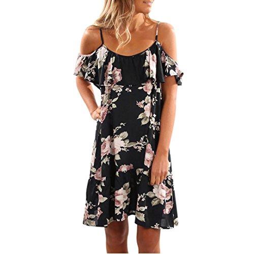 Floral Rüschen Kleid Aus Schulter Schulterfrei Kurz Minikleid Blumen Drucken Kleider Tunikakleid Beach Strandkleider Festlich Partykleid (M, Schwarz) (Jax Kostüme)