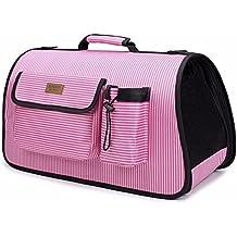 Pet Online Cuccia esterna portatile in nylon traspirante Pet striato borsa con impugnatura,S: 4,5 * 26 * 20cm,Rosa