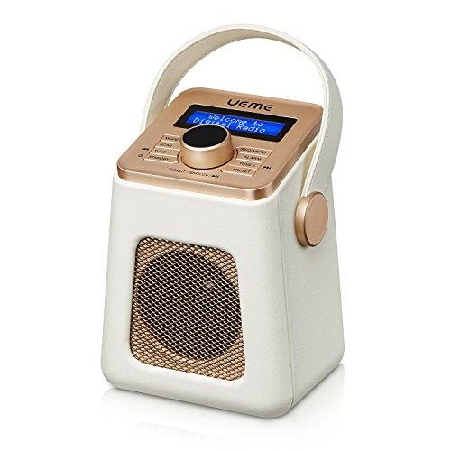 UEME Mini DAB+ DAB Digital Radio und FM Radio mit Bluetooth | Retro DAB Plus Radio mit Uhr und Weckerfunktion (Creme)