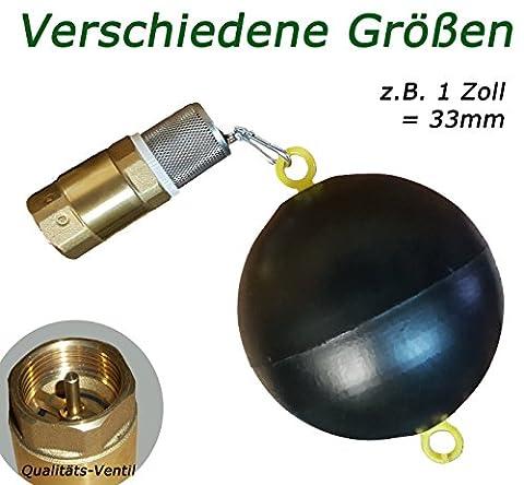Schwimmer mit VA Saugkorb und 1 Zoll Rückschlagventil für Saugschlauch ----- Fussventil geeignet für Gartenpumpe, Schwengelpumpe, Jetpumpe ----- Qualitäts Ventil mit Messingklappe