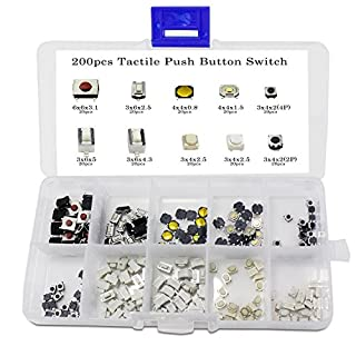 Aussel 10 Value 200 Pieces Taktiler Drucktastenschalter Micro Momentary Tact Sortiment Kit (200PCS)