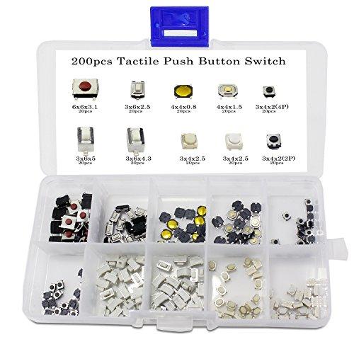 Aussel 10 Valore 200 pezzi Interruttore a pulsante Tattile Micro Momentary Tact Assortment Kit