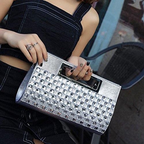 GSHGA Womens Frizione Borse Sacchetto Di Mano Strass Promenade Con La Borsa Del Diamante Sacchetto Del Pranzo A Mano,Gold Silver