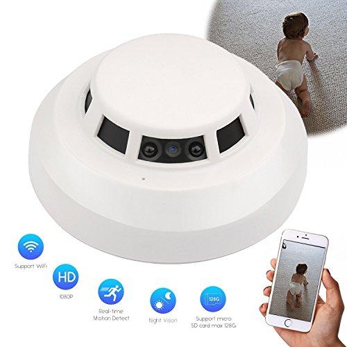 Esta es una cámara infrarroja HD IR con visión nocturna 1080P wifi como detector de humo con detección de movimiento. Se puede usar como monitor de seguridad para el hogar, monitor de mascota, monitor de cuidador, etc. Características: Grabación de v...