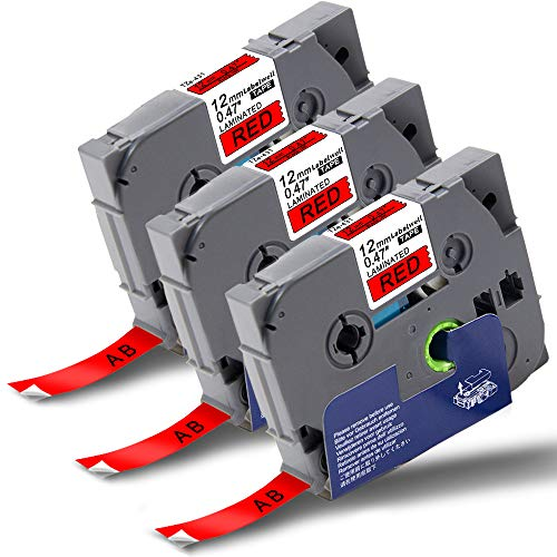 Labelwell TZe TZ Tape TZe-431 12mm x 8m Black on Red Compatible for Brother TZe431 TZ-431 Laminated Label Tapes Cassette for Brother P-Touch PT-1000 PT-H110 PT-H101C PT-H105 PT-2030VP PT-P750W PT-E100