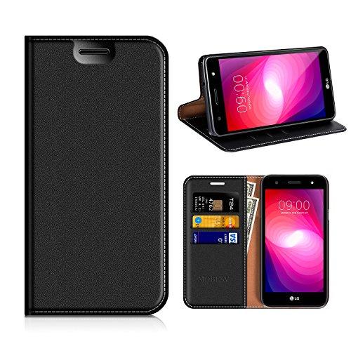 MOBESV LG X Power 2 Hülle Leder, LG X Power 2 Tasche Lederhülle/Wallet Case/Ledertasche Handyhülle/Schutzhülle mit Kartenfach für LG X Power 2(LG X Power II) - Schwarz