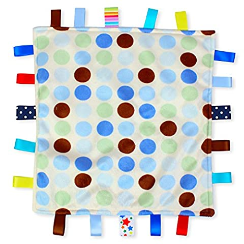 Blue Dot Baby Tag Blanket - White with Blue Polka Dot Taggy blanket with Plain Blue Textured