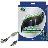 HQ HQSV-405-10 Câble HDMI haut débit 19P Male/19P Male Coude Argent
