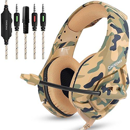 Gaming Headset für PS4 Neue Xbox one PC Mac, ONIKUMA Über Ohr 3,5mm Kopfhörer mit Mic Geräuschisolation Deep Bass Surround für Spiel von AFUNTA -Camouflage Surround-lautsprecher-draht