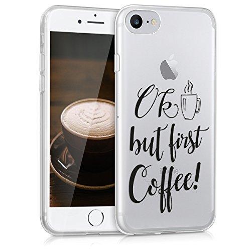 kwmobile Schutzhülle passend für Apple iPhone 7/8 - Schutzhülle aus [TPU] und Design OK Coffee in [schwarz/transparent]