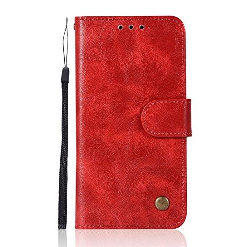 Chreey Samsung Galaxy S5 Hülle, Premium Handyhülle Tasche Leder Flip Case Brieftasche Etui Schutzhülle Ledertasche, Rot