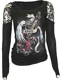 Spiral Gothic Haut à épaules en dentelle pour femme Motif Rock Angel Noir