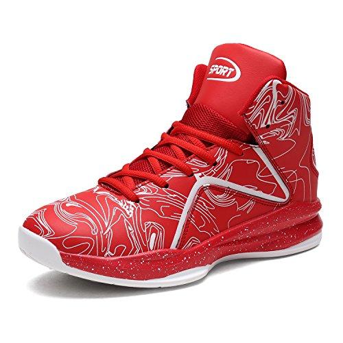 Herren Basketballschuhe Hohe Sneakers Ausbildung Outdoor Turnschuhe(Rot,EU45)