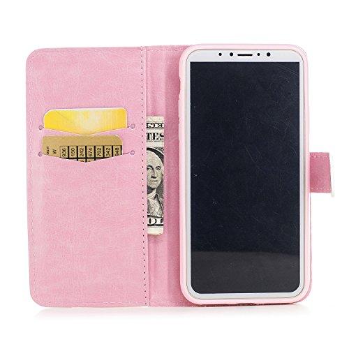 Leather Case Cover Custodia per iphone X ,COZY HUT Caso / copertura / telefono / involucro Modello retrò colorato del modello PU con a Bookstyle tasche carte di credito funzione con interno morbido in Fiori di ciliegio
