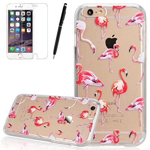 "HB-Int 3 in 1 Transparent Hülle für iPhone 6 / 6S (4.7"") Hart Kunststoff Back Case + Weich Silikon Rahmen Donuts Dünn Schutzhülle Full Body Shell TPU Rundum Tasche Beschützer Haut Protective Etui Bump Flamingo"