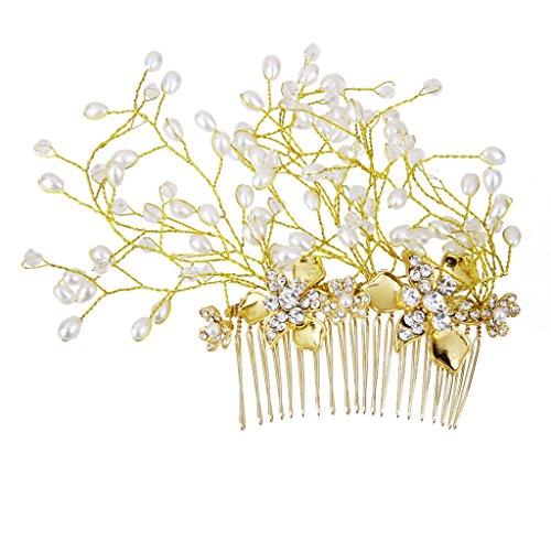 Nupcial De La Boda Del Peine Del Pelo De La Flor De Oro Decoración Del Pelo Tocado De Perlas De Cristal